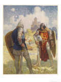 Sir Lancelot Challenges Sir Tarquin Who Has Imprisoned King Arthur's Knights Giclee Print by Newell Convers Wyeth