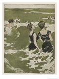 Two German Lady Bathers Watch Other Swimmers Playing in the Waves Giclee Print by Ferdinand Von Reznicek
