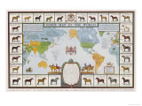 Horse Map of the World Showing Different Breeds Giclee Print