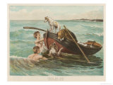 Two Youths Swim from a Boat Reproduction procédé giclée par S.E. Waller