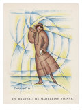 Three-Quarter Length Brown Coat by Madeleine Vionnet with Matching Hat Giclee Print by  Thayaht