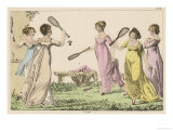 Four Ladies Enjoy a Game of Battledore and Shuttlecock During a Leisurely Picnic in Some Gardens Giclee Print