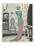 Back View of a High Waisted Draped Gown with Train by Zimmerman Giclee Print by Louis Strimpl