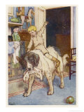 Peter Pan, Michael Rides on the Back of the Dog Nana Giclee Print by Alice B. Woodward