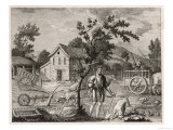 Scene in a Saxon Farmyard with Pigs and Poultry Carts and Various Implements Giclee Print