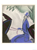Horsewoman in a Vivid Blue Riding Habit and Top Hat and White Cravat Giclee Print