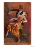 Two Handsome Dancers Strut Their Thing in Fine Style Giving the Cake-Walk Almost a Sinister Look Giclee Print by L. Usobol