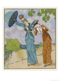 Two Elegant Parisiennes are Caught in a Shower Giclee Print by Louis Strimpl