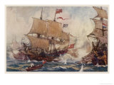 Naval Combats of the 17 and 18th Centuries Involve Numbers of Ships Giclee Print by Norman Wilkinson
