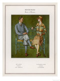 Golfing Couple: The Man Wears Plus-Fours with Matching Socks and Jumper Giclee Print