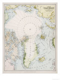 Map of the Arctic Circle with Details of Explorations Giclee Print