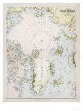 Mapa de ártico Circle con Detalles de Exploracións Lámina giclée