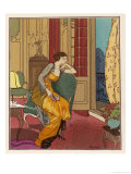 Worth Dress in an Exotic Shade of Orange Giclee Print by Louis Strimpl