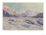 The Tasman Glacier in New Zealand Giclee Print by F. Wright