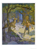 Uncas a Mohican Indian Slays a Deer Giclee Print by Newell Convers Wyeth