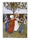 Four Young Girls Sing as They Go Round the Mulberry Bush Giclee Print by Millicent Sowerby