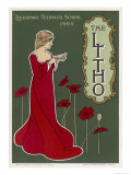 Typical Art Nouveau Lady with Red Poppies Reading a Book Giclee Print