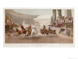 Two Charioteers Race Neck-And- Neck with Each Other in a Roman Circus Reproduction procédé giclée par Alexander Wagner