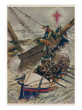 Lifeboat Saves Passengers from a Sailing Vessel: Note the Insignia the Red Cross of the Sea Giclee Print by W.r. Stott