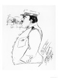 Signed Self-Caricature by the Opera Singer Enrico Caruso: Caruso as Lieutenant Pinkerton Giclee Print