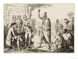 Conference Between the French and Indian Leaders Around a Ceremonial Fire Giclee Print by  Vernier