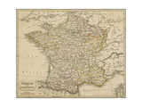 Map of France Showing the Departements Giclée-tryk
