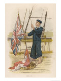 Barefoot Rating Signalling with Flags on Board a Warship of Her Majesty's Navy Giclee Print by W. Christian Symons