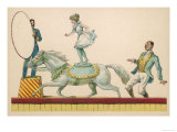 Girl Standing on the Back of a Grey Horse Prepares to Jump Through a Paper Hoop Giclee Print