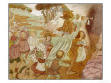 The Children of Hamelin Follow the Pied Piper and are Not Seen Again Giclee Print by Olive Wood