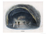 Visitors Viewing by Torchlight the Interior of the Ice-Grotto in the Surtshellir Giclee Print by J.w. Whimper