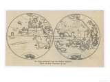 Map of the World in Two Halves According to Martin Behaim Premium Giclee Print