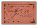 Entrance Ticket to the Casino at Monte Carlo Giclee Print