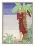 Surrounded by Exotic Vegetation She Stands Primly with Her Parasol Giclee Print by  Zeilinger