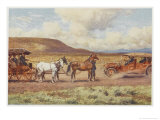 Car Meets a Carriage in the Australian Outback Giclee Print by Percy F.s. Spence