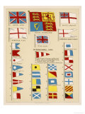 Some of the Signal Flags of Royal Navy Including the Royal Standard White Ensign Union Jack Reproduction procédé giclée