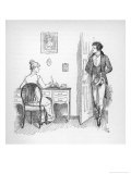 Mr. Darcy Enters a Room in Which Elizabeth Bennet is Seated at Her Writing Desk Giclee Print by Hugh Thomson