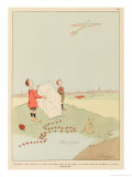 For Young Boys Flying Their Kites an Aeroplane Passing Overhead is an Inspiration Giclee Print by Joaquin Xaudaro