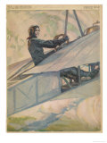 Woman at the Controls of an Early Aeroplane Premium Giclee Print