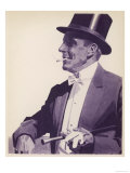 An Elegant Gentleman in Top Hat Smoking a Cigarette Giclee Print