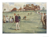 Golfers Golfing at the Royal Sydney Golf Club Links Reproduction procédé giclée par Percy F.s. Spence