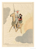 Don Quijote and Sancho Take to the Air on a Flying Machine in the Shape of a Horse Wydruk giclee autor Joaquin Xaudaro