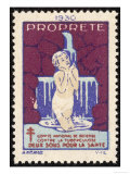 French Postage Stamp Promoting Washing and Cleanliness to Fight Tuberculosis Giclee Print