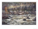 Fishing for Trout in the Snowy River Australia Giclee Print by Percy F.s. Spence