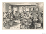Women Weighing Chocolate and Filling Packets in the Fry's Chocolate Factory in Bristol Giclee Print