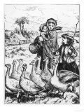 Driving Geese to a Country Goose Fair, Giclee Print