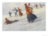 Descending the Slopes of Mount Kosciusko Australia, Some on Sledge Some on Ski Giclee Print by Percy F.s. Spence