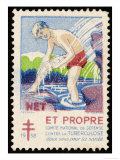 French Postage Stamp Promoting Bathing and Cleanliness to Fight Tuberculosis Giclee Print