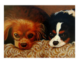 Portrait of two King Charles Spaniels. Giclee Print by George Robertson