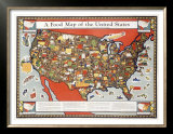Food Map of the United States Posters