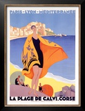La Plage de Calvi Art by Roger Broders